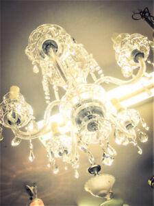 large vintage glass chandelier