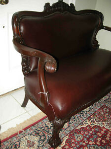 antique cherry wood sofa carved dolphins new leather Oakville / Halton Region Toronto (GTA) image 2