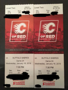 2 Tickets to Sabres VS Flames Tomorrow Night. Below Cost!
