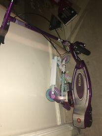 Purple razor electric scooter