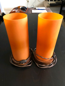 Orange vintage lamps plastic wooden wood base lamp