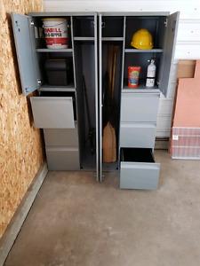 Metal storage cabinets.