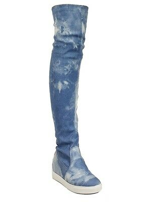 Liliana Round Toe Over-The-Knee Denim Casual Sneaker Thigh Boots 5.5 - 10