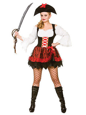 Ladies High Seas Caribbean Charming Pirate Wench Fancy Dress Costume Adult 6-20