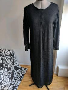 Black lace dress abaya nursing zipper