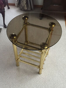 VINTAGE GLASS TOP BRASS LEGS TABLE FOR SALE