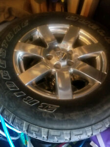 "5x Jeep Wrangler chrome 18"" rims and tires 255/70/18 $600"