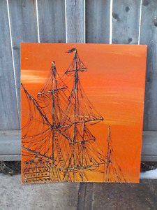 "VINTAGE OIL ACRYLIC SHIP PAINTING 24"" X 28 1/2"""