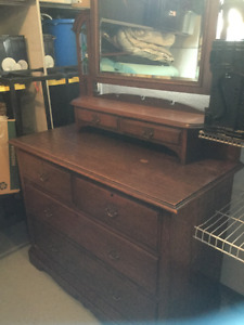 Solid Oak Antique Art Deco Dresser
