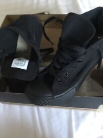 All black converse high tops size uk 2 Worn Once like new