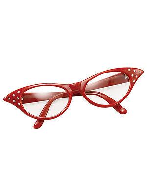 Red 50s 60s Style Rock N Roll Dame Edna Specs Fancy Dress Glasses Ladies Girls