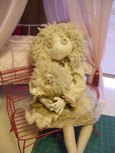 Hand Made Button jointed rag doll