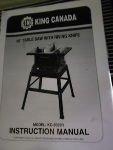 King Canada 15 amp 10in Table saw