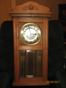 1930 Oak Wall Clock, Chime and Beveled Glass Door
