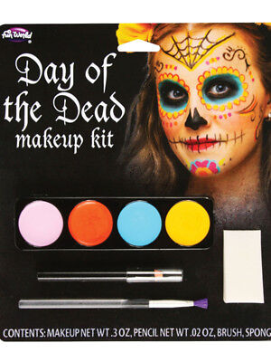 Mexican Day Of The Dead Sugar Skull Make Up Kit New Fancy Dress Zombieland
