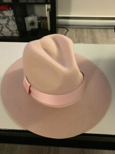 Wool fedora hat - pale pink