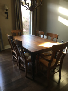Pine Harvest Table and 6 Queen Anne Style Chairs for Sale