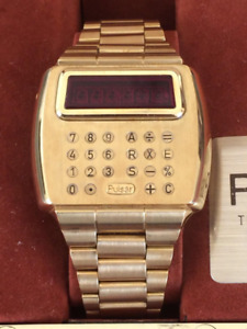 Pulsar 18K solid gold time calculator watch-comes with pen & box