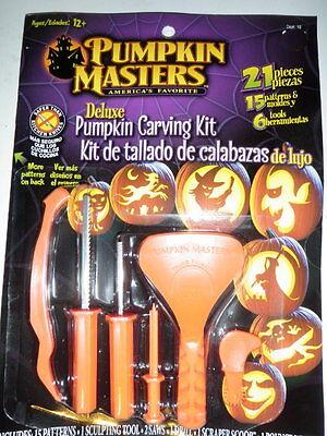 PUMPKIN MASTERS CARVING KIT DELUXE-21 pcs NIP Patterns,Tools,Saw,Scoop,Halloween - Patterns Pumpkin Halloween