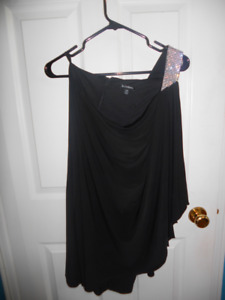 Le Chateau Studded One Shoulder Little Black Dress