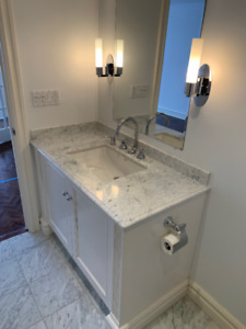 Bathroom Vanity, with counter, sink and faucet