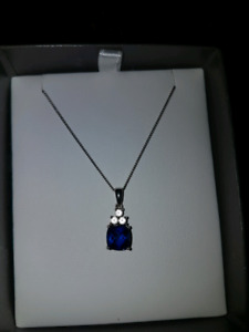 Lab created sapphire in Sterling silver