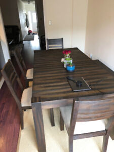 *LIKE NEW* BRICK Espresso Dining Table Set (4 Chairs + Bench)