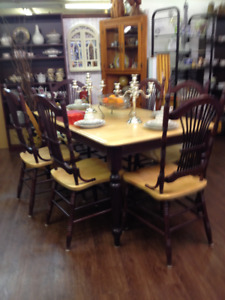 Canadel solid wood table and 6 chairs