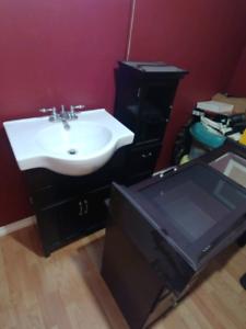 Bathroom vanity and shelving