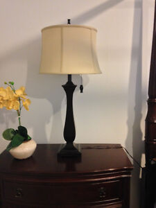 SET OF 2 TABLE LAMPS - ESPRESSO WITH TAUPE SHADES (LIKE NEW) London Ontario image 2