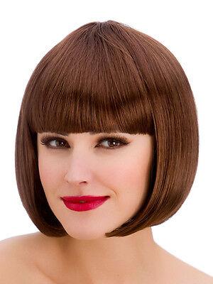 Ladies Diva Short Hair Brown Bob Wig Fringe Fancy Dress Hollywood 1980s Disco (Halloween Costumes Short Brown Hair)