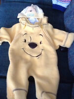 0-3 months pooh fleece and pooh hat