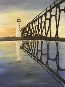 Original acrylic painting - Pier Head Lighthouse, Michigan