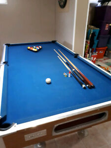 Vintage Pool Table with All Accessories