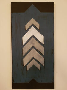 Hand Painted Acrylic Painting on Canvas, Distressed Arrows