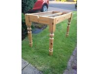 Stripped pine table base legs
