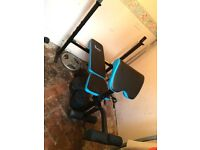 Weight bench with attachments and weights