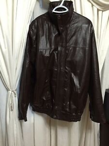 Brand new never used men's XL pure leather jacket dark brown