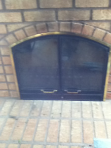 Fireplace Arched Tempered Glass Doors & Mesh Screen OBO Reduced