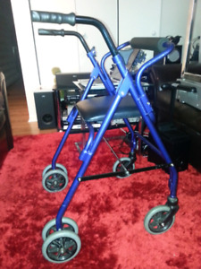 AMG Free Spirit Rollator Adjustable Walker With Cushioned Seat