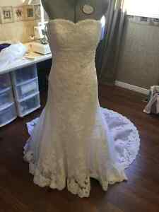 White lace and tulle wedding gown