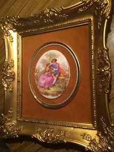 "Rare! large France Fragonard Limoges Framed Cameo 11"" x 12"""