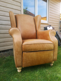 Next Sherlock Wing Back Arm Chair tan leather recliner