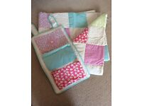 New condition cot bed quilt and nappy holder