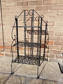 3 tier rustic metal wrought iron shelving unit