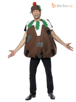 Mens Christmas Pudding Costume Christmas Fun Xmas Adult Fancy Dress Outfit M -XL