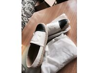 White leather Chanel shoes size 7