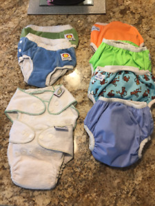 Lot of 8 Cloth Diapers - Size S/M