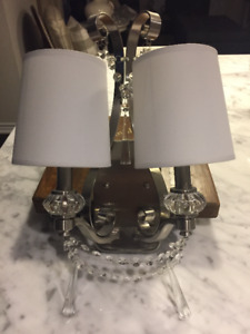 Large Brushed Nickel and Crystal 2 Light Wall Sconce