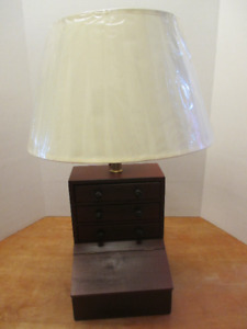 Handmade, one of a kind table lamp - with wooden storage cabinet